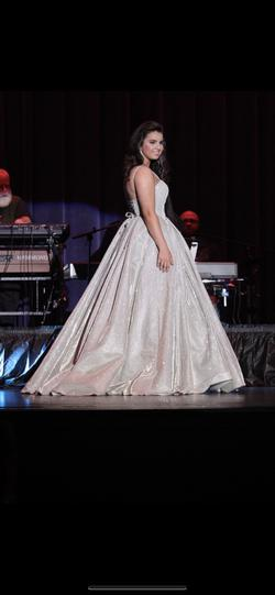 Sherri Hill Silver Size 4 Pageant Train Ball gown on Queenly