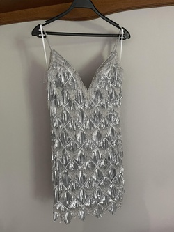Jovani Silver Size 6 Mini Cocktail Dress on Queenly