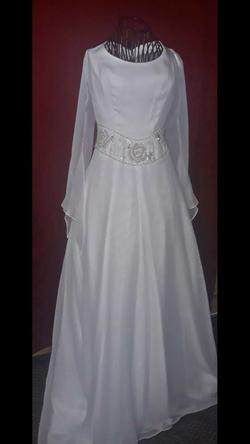 Demetrios White Size 6 Sleeves Jewelled Bell Sleeves Train A-line Dress on Queenly
