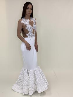 Larissa Couture LV White Size 4 Tall Height Sheer Lace Mermaid Dress on Queenly