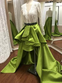 Larissa Couture LV Green Size 2 Blue Sequin Silk Ball gown on Queenly