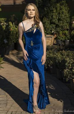 Larissa Couture LV Royal Blue Size 8 Side slit Dress on Queenly
