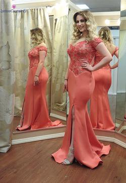 Larissa Couture LV Orange Size 8 Side slit Dress on Queenly