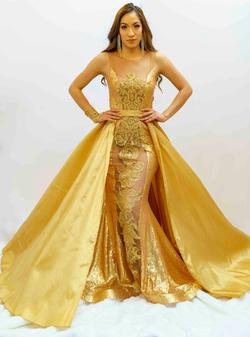 Larissa Couture LV Gold Size 4 Sheer Silk Jewelled Mermaid Dress on Queenly