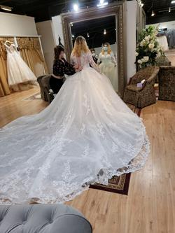 Demetrios White Size 16 Sleeves Train Custom Ball gown on Queenly