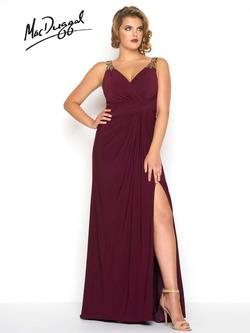 Style 65982F Mac Duggal Red Size 16 Jersey Prom Plus Size Side slit Dress on Queenly