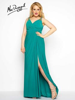 Style 65982F Mac Duggal Green Size 20 Plus Size Side slit Dress on Queenly