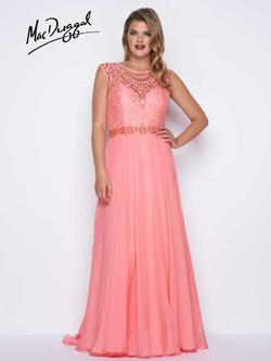 Style 77169F Mac Duggal Orange Size 14 Prom Plunge Coral Straight Dress on Queenly