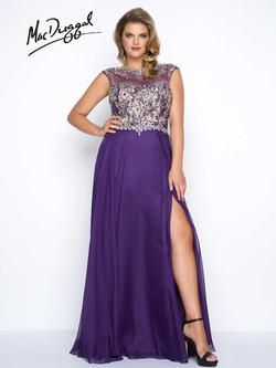 Style 11102F Mac Duggal Purple Size 14 Sequin Jewelled Tall Height Side slit Dress on Queenly