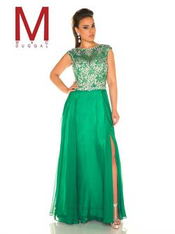 Style 11102F Mac Duggal Green Size 18 Pattern Cap Sleeve Boat Neck Side slit Dress on Queenly