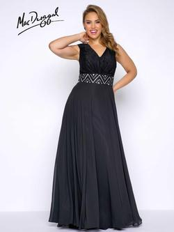 Style 77171F Mac Duggal Black Size 28 Prom Plunge Silk Straight Dress on Queenly
