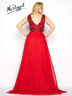 Style 65970F Mac Duggal Red Size 14 Prom Plus Size Tulle Side slit Dress on Queenly