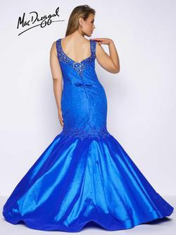 Style 77178F Mac Duggal Blue Size 24 Tall Height Lace V Neck Mermaid Dress on Queenly