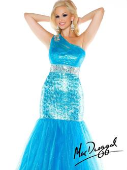 Style 76461F Mac Duggal Blue Size 20 Tall Height Mermaid Dress on Queenly
