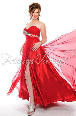 Style W52032 Precious Formals Red Size 22 Prom Plus Size Side slit Dress on Queenly