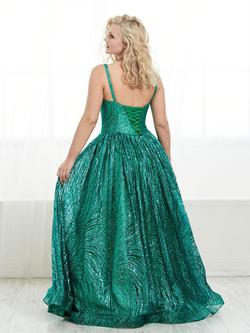Style 16453 Tiffany Designs Green Size 14 Tall Height Sequin V Neck Ball gown on Queenly