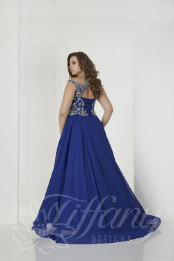 Style 16313 Tiffany Designs Blue Size 18 Train Tall Height Side slit Dress on Queenly