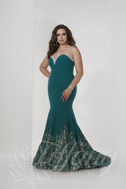 Style 16318 Tiffany Designs Green Size 16 Train Tall Height Mermaid Dress on Queenly