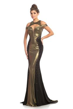 Style 9118 Johnathan Kayne Gold Size 6 Pageant Sheer Tall Height Mermaid Dress on Queenly