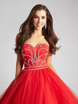 Style Q539 Allure Red Size 12 Sequin Ball gown on Queenly