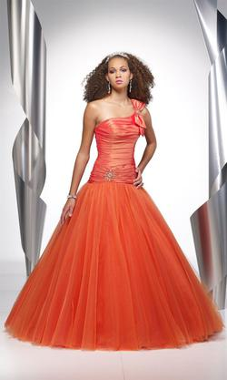 Style 9063 Alyce Paris Orange Size 4 Tall Height Lace Ball gown on Queenly
