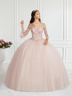 Style 56385 House of Wu Fiesta Pink Size 10 Sweetheart Tall Height Lace Ball gown on Queenly