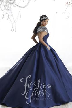 Style 56330 House of Wu Fiesta Blue Size 10 Quinceanera Tall Height Lace Ball gown on Queenly