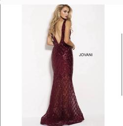 Jovani Red Size 4 Sheer Tall Height V Neck Mermaid Dress on Queenly