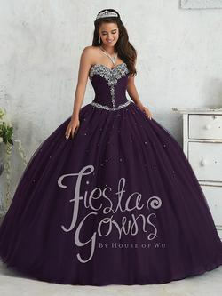 Style 56310 House of Wu Fiesta Purple Size 14 Plus Size Tall Height Lace Ball gown on Queenly