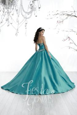 Style 56322 House of Wu Fiesta Blue Size 4 Sweetheart Tall Height Lace Ball gown on Queenly