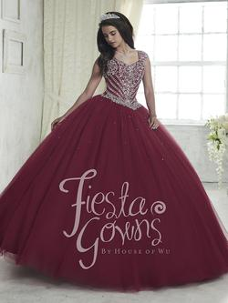 Style 56312 House of Wu Fiesta Red Size 16 Burgundy Fitted Ball gown on Queenly