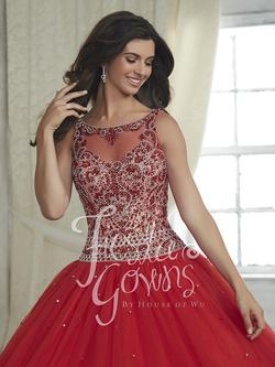 Style 56314 House of Wu Fiesta Red Size 12 Quinceanera Burgundy Plus Size Lace Ball gown on Queenly