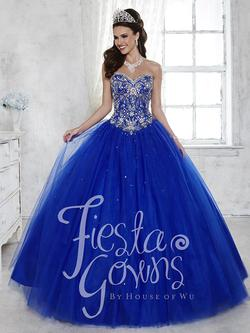 Style 56281 House of Wu Fiesta Blue Size 8 Tulle Tall Height Lace Ball gown on Queenly