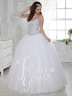 Style 56276 House of Wu Fiesta White Size 14 Plus Size Tall Height Lace Ball gown on Queenly