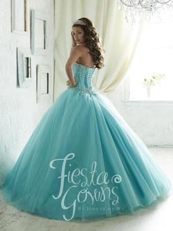 Style 56285 House of Wu Fiesta Blue Size 12 Quinceanera Tulle Tall Height Ball gown on Queenly