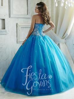 Style 56289 House of Wu Fiesta Blue Size 0 Tall Height Lace Ball gown on Queenly