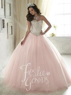 Style 56290 House of Wu Fiesta Pink Size 4 Sweetheart Tall Height Ball gown on Queenly