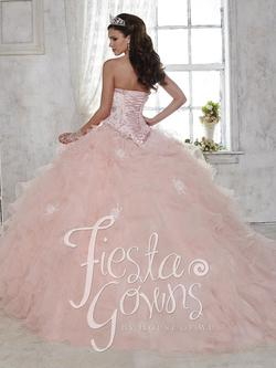 Style 56282 House of Wu Fiesta Pink Size 10 Sweetheart Tall Height Lace Ball gown on Queenly