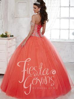 Style 56283 House of Wu Fiesta Orange Size 2 Tall Height Lace Ball gown on Queenly