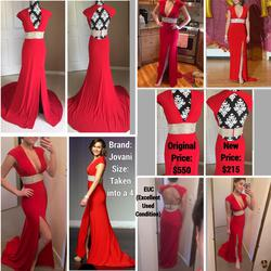 Jovani Red Size 4 Tall Height Jewelled Prom Side Slit A-line Dress on Queenly