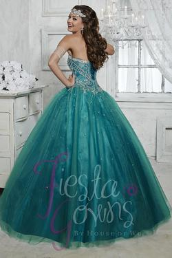 Style 56264 House of Wu Fiesta Green Size 2 Tall Height Lace Ball gown on Queenly