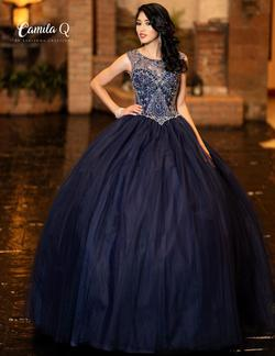 Style Q19005 Karishma Creations Blue Size 6 Quinceanera Tulle Corset Tall Height Ball gown on Queenly