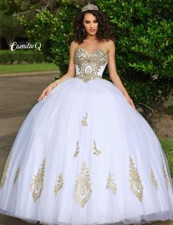Style Q17010 Karishma Creations White Size 14 Corset Plus Size Tall Height Ball gown on Queenly