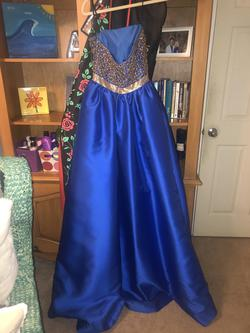 Mac Duggal Blue Size 2 Pageant Cape Mermaid Dress on Queenly