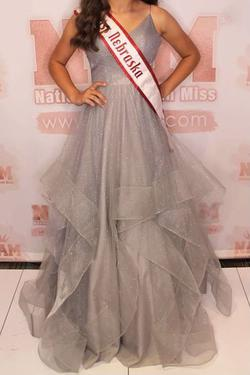 Silver Size 4 Ball gown on Queenly