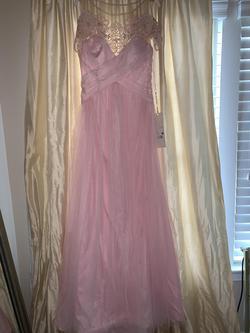 Tarik Ediz Pink Size 8 Cap Sleeve Tulle A-line Dress on Queenly