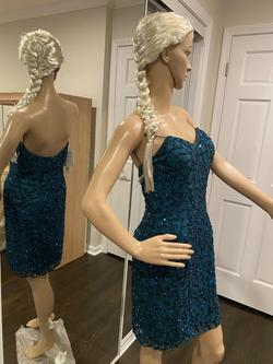 SCALA Green Size 12 Teal Sequin Cocktail Dress on Queenly