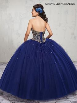 Style MQ1006 Mary's Blue Size 4 Tall Height Lace Ball gown on Queenly