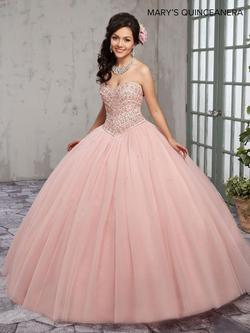Style MQ1006 Mary's Pink Size 10 Tall Height Lace Ball gown on Queenly