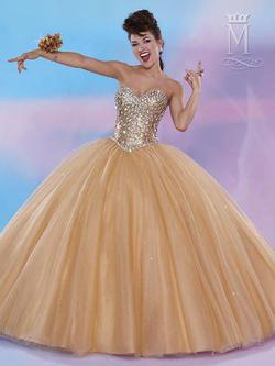 Style 4658 Mary's Gold Size 6 Tall Height Sheer Lace Ball gown on Queenly